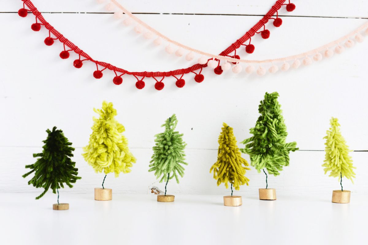 DIY Mini Yarn Trees Collage