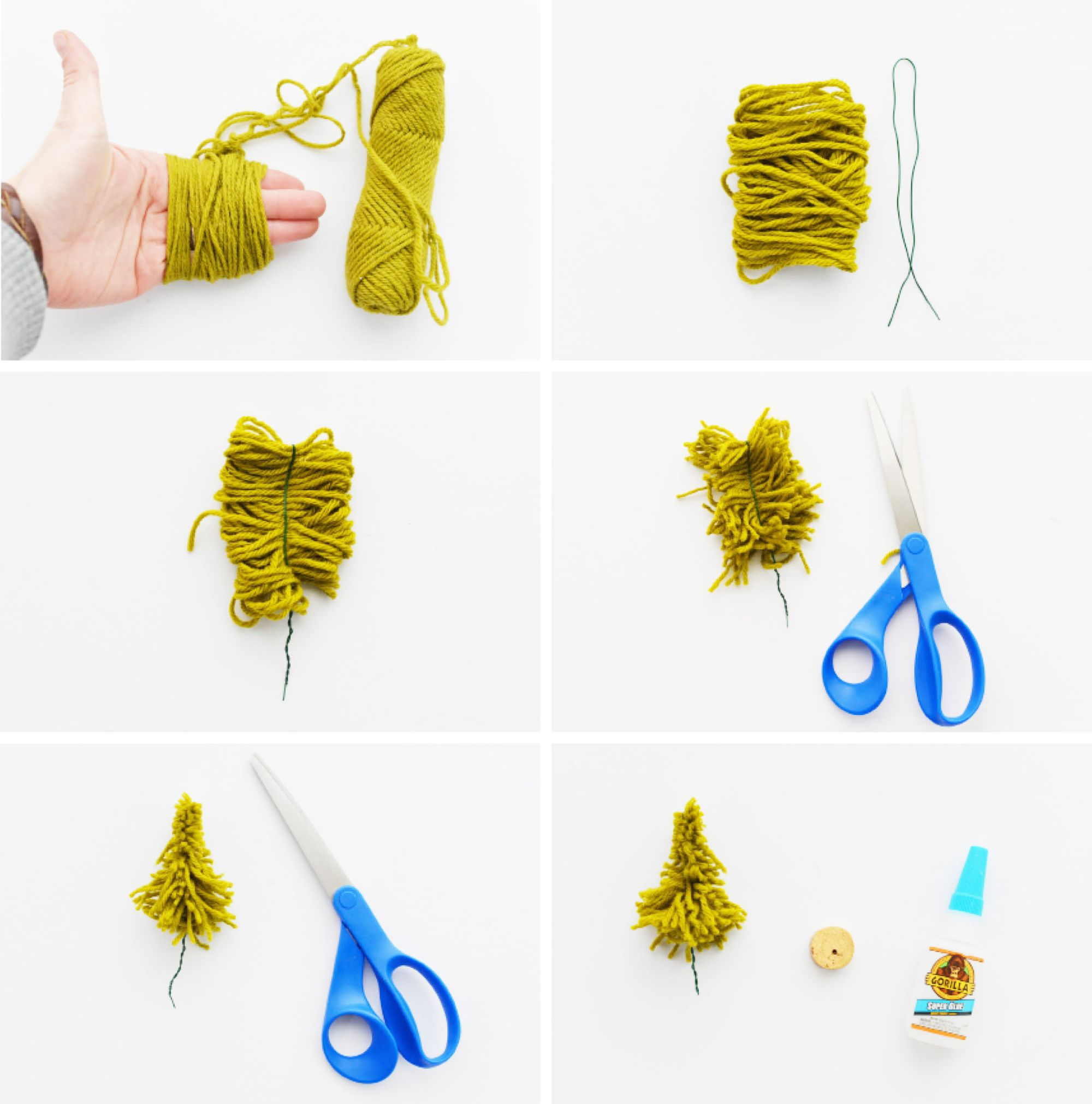DIY Mini Yarn Trees Instructions