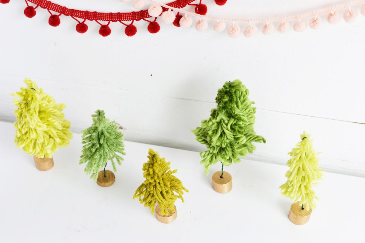 DIY Mini Yarn Trees Top view