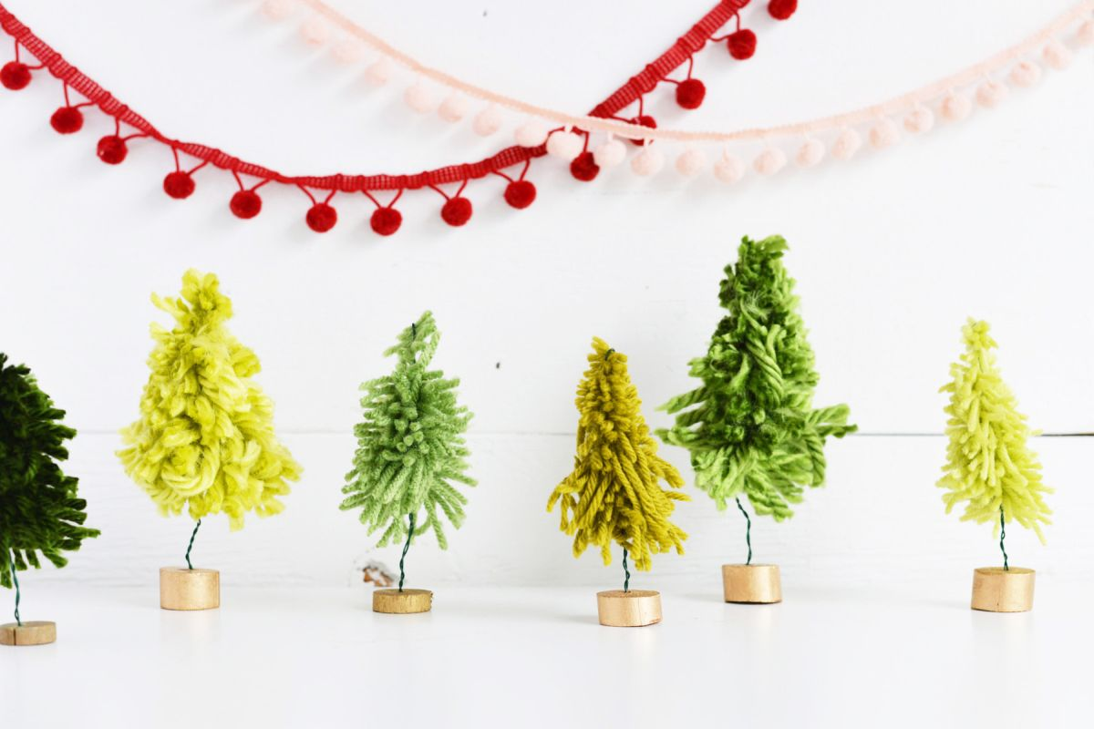 DIY Mini Yarn Trees with Gold Base