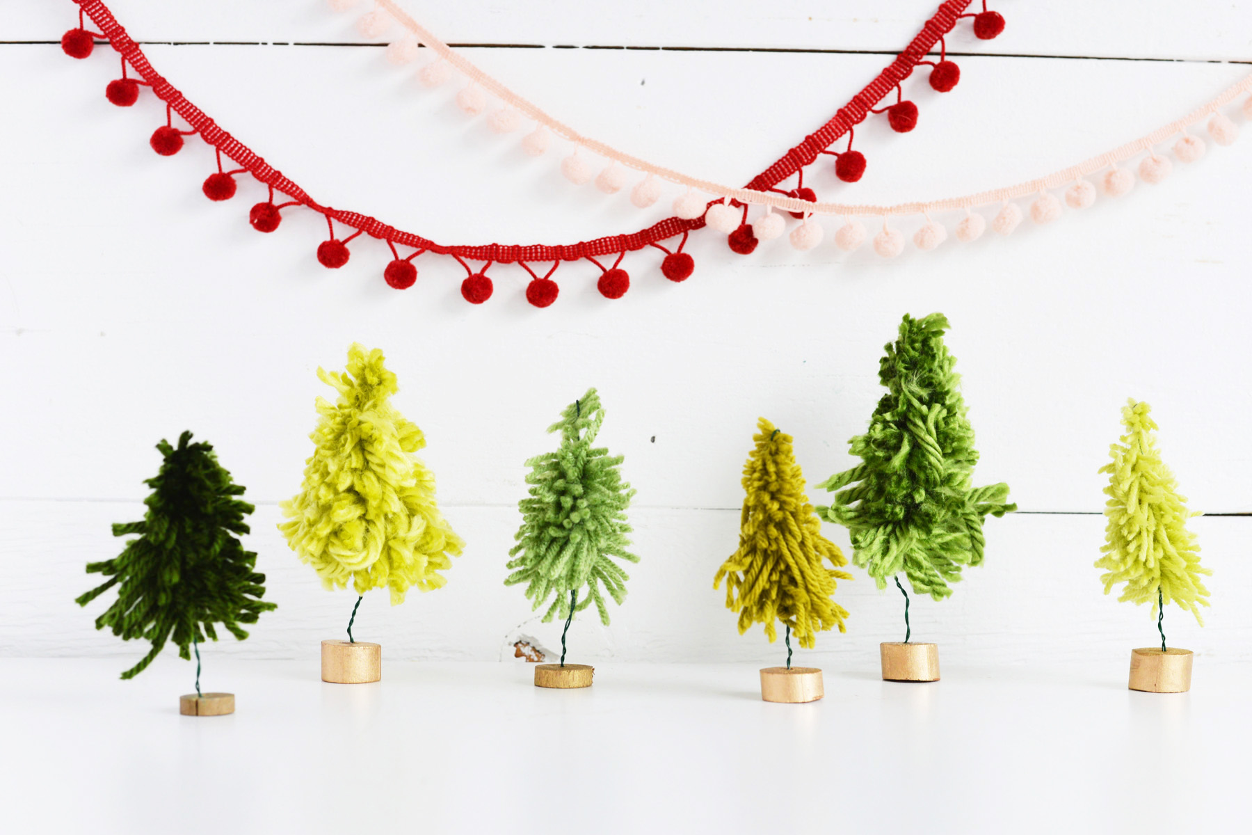 DIY Mini Yarn Trees