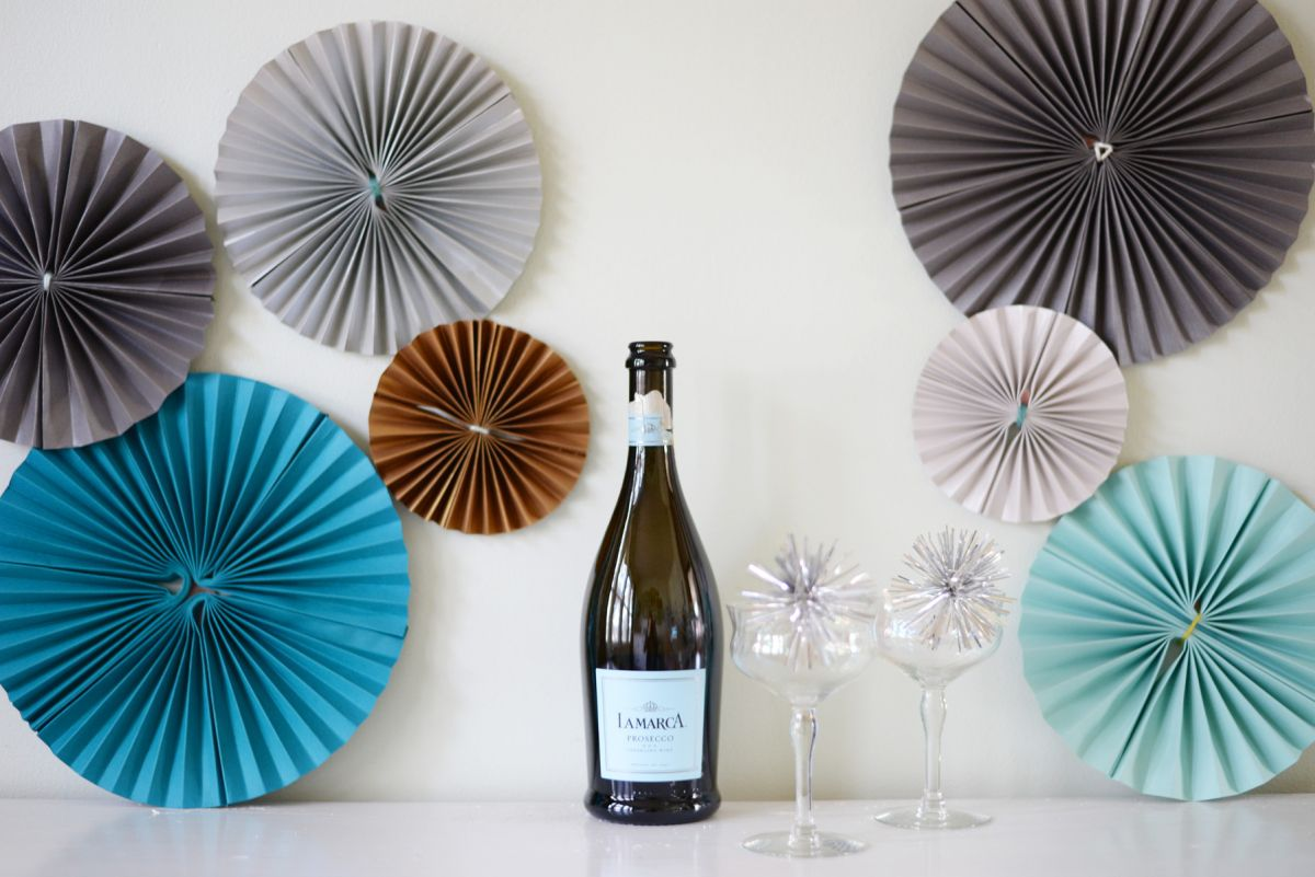 DIY Paper Pinwheels for NYE Wall Accents