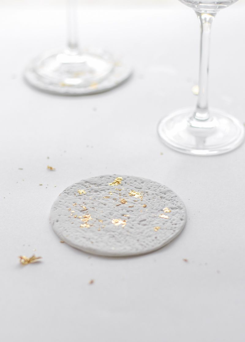 DIY Shiny Party Coasters with Gold Accents