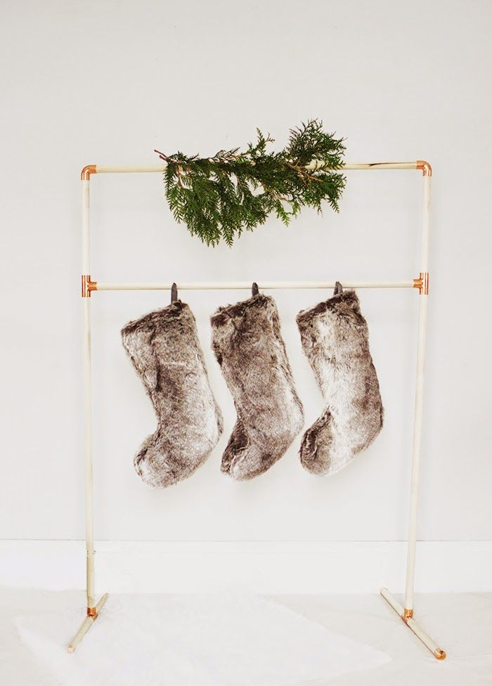 DIY copper pipe stocking holder