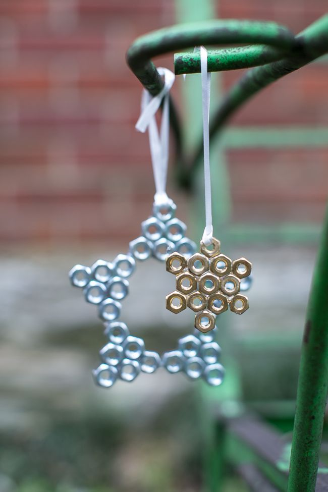 DIY hexnut ornaments