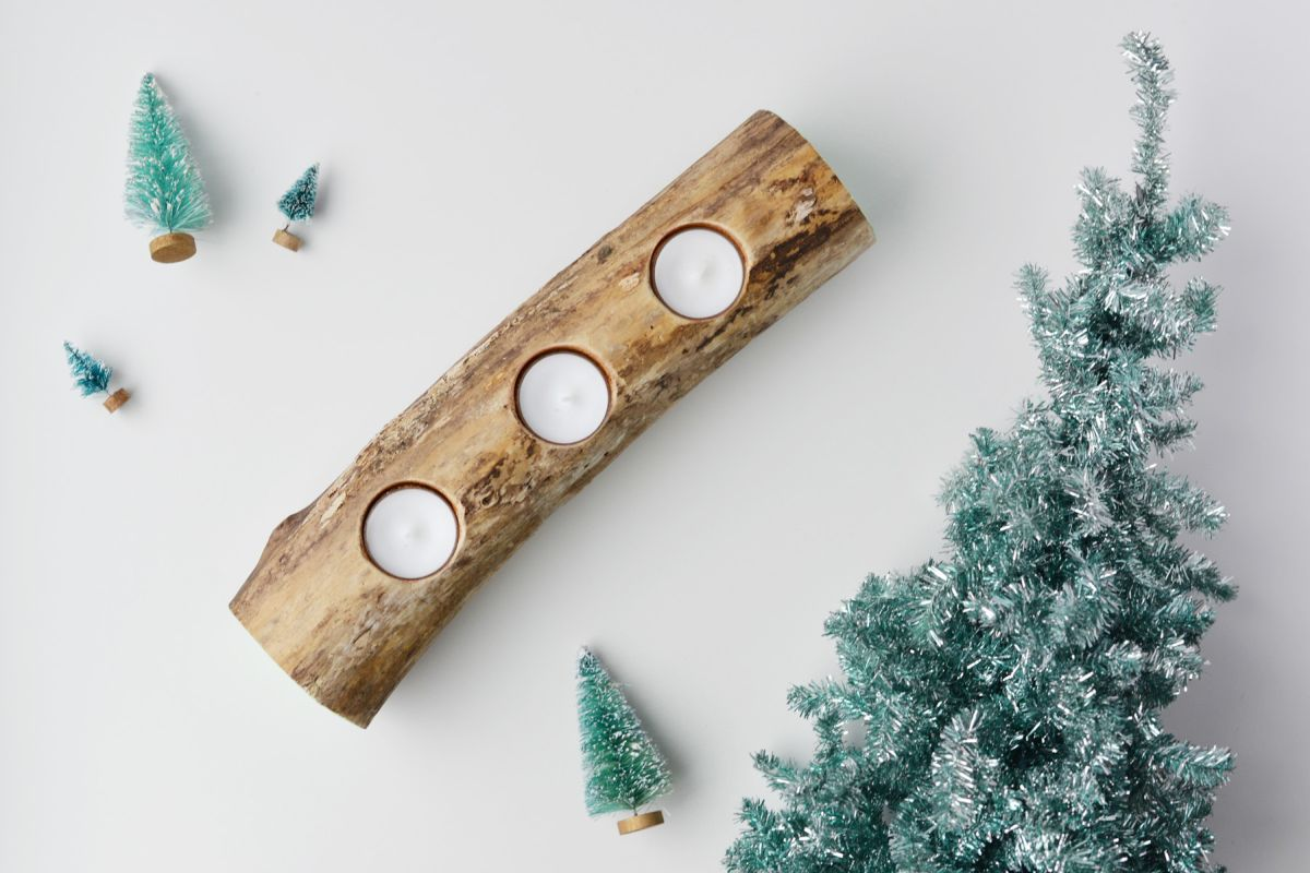 diy log candle holder - Christmas Log Candle Holder Decorations
