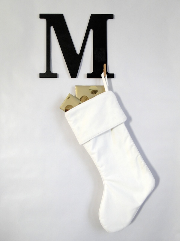 diy monogram stocking hanger
