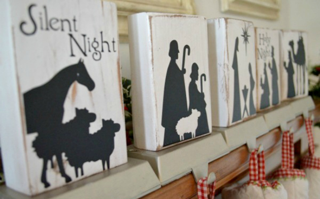 DIY nativity stocking holder