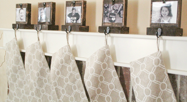 DIY photo stocking hangers