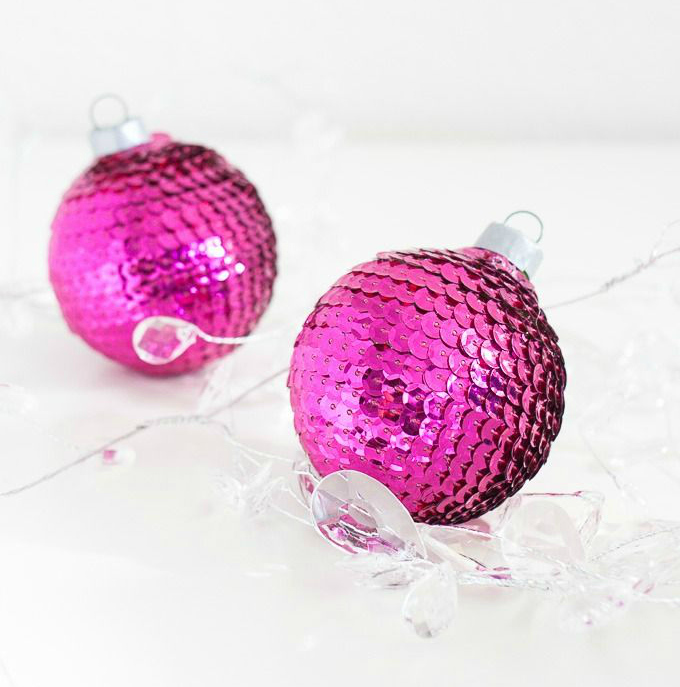 DIY sequin ornaments