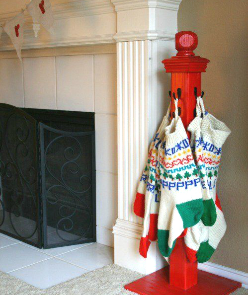 DIY stocking hanger tree