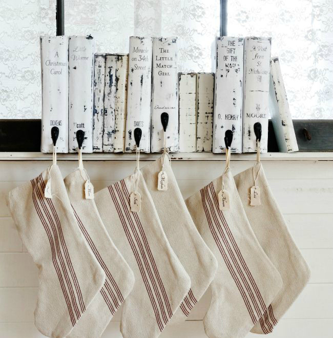DIY vintage book stocking holder