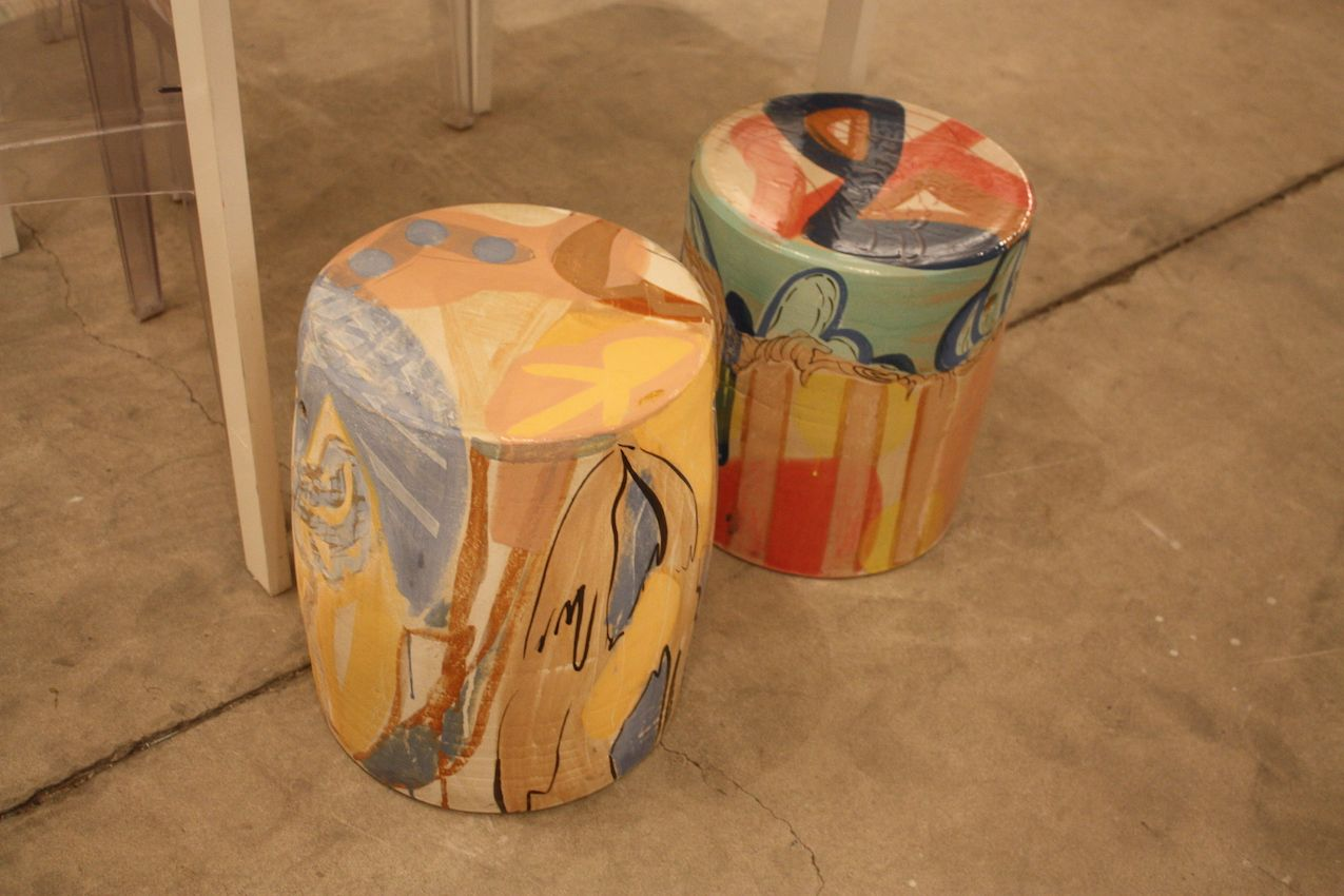 Stools were a popular canvas for art. We particularly like these two from the Dean Project in Miami. The abstract design and pastel colors feel tropical.
