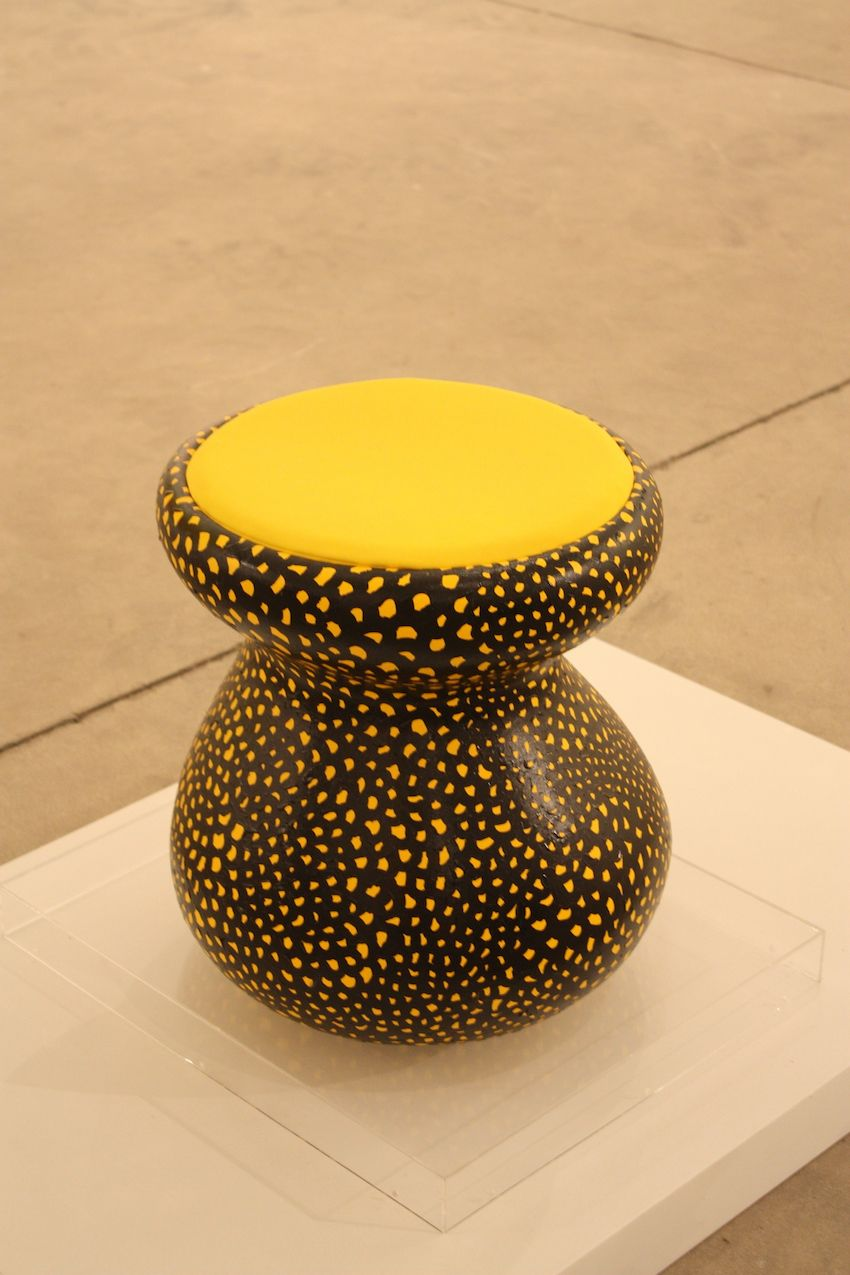 The iconic dotted creations of avant-garde Japanese artist Yayoi Kusama were sprinkled throughout Art Basel and the other shows. This stool is just perfect.