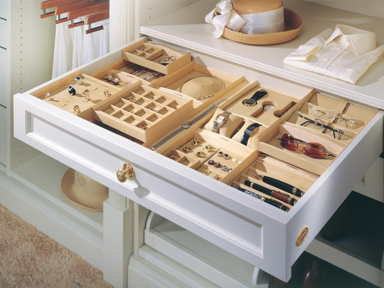 Drawer with boxed jewelry