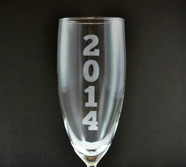 Etched date champagne flutes