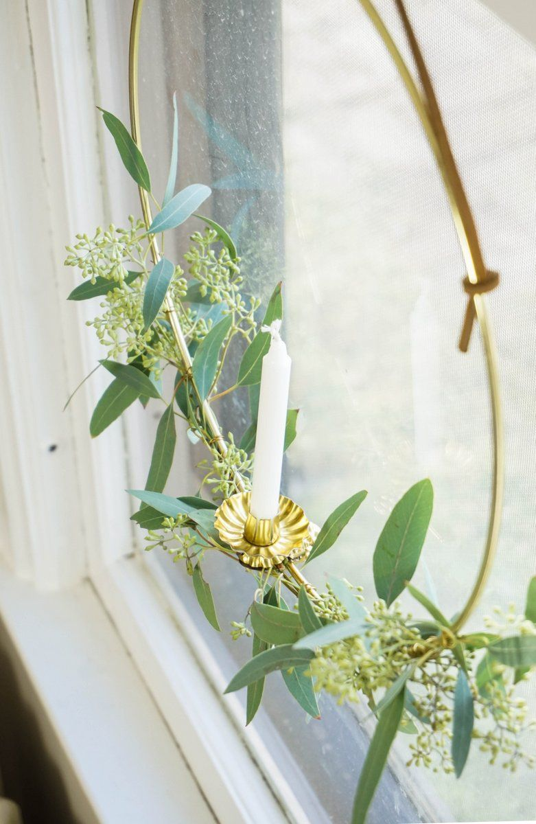 Eucalyptus Candle Wreath Window