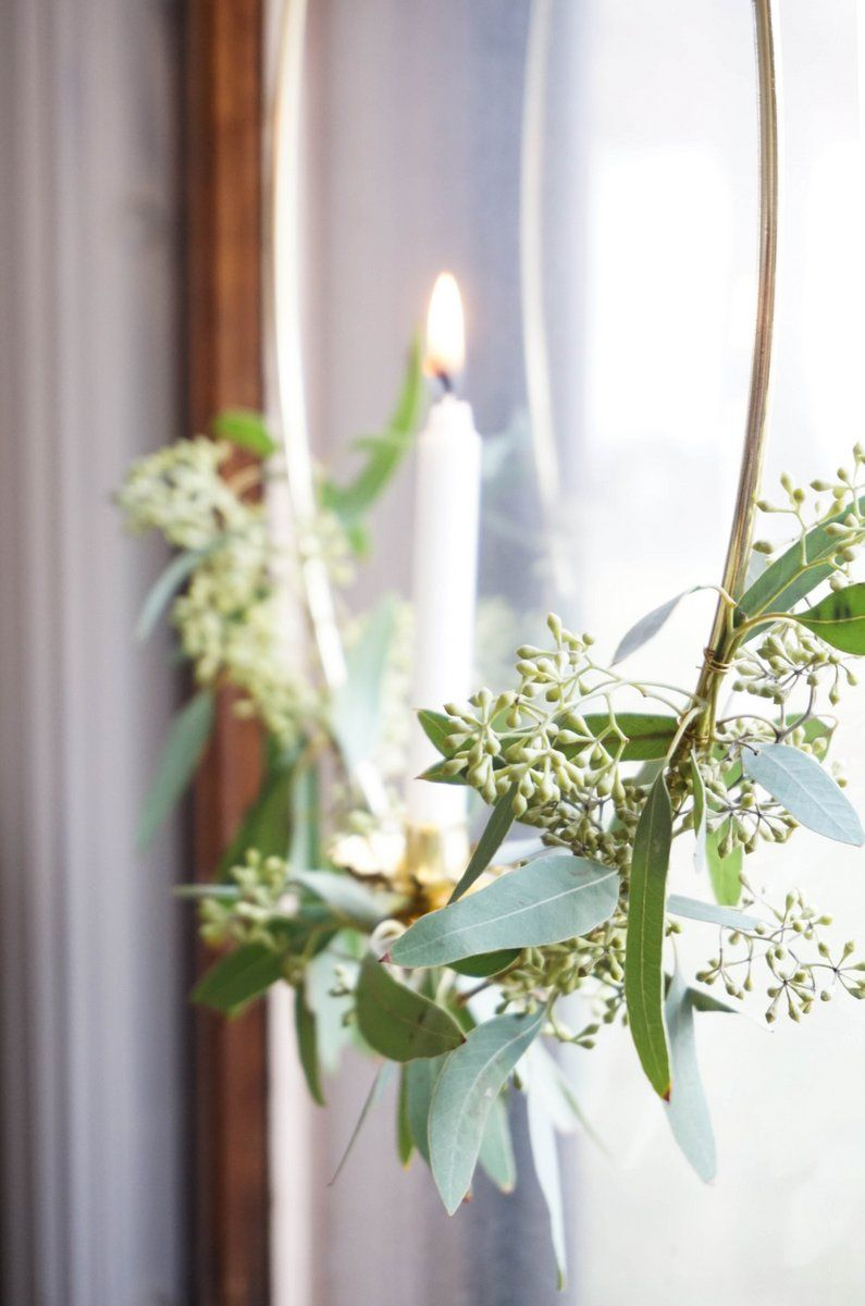 Eucalyptus Candle Wreath for Window