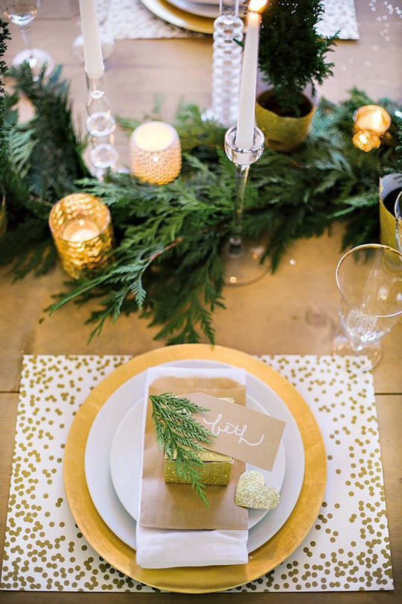 Evergreen table decor