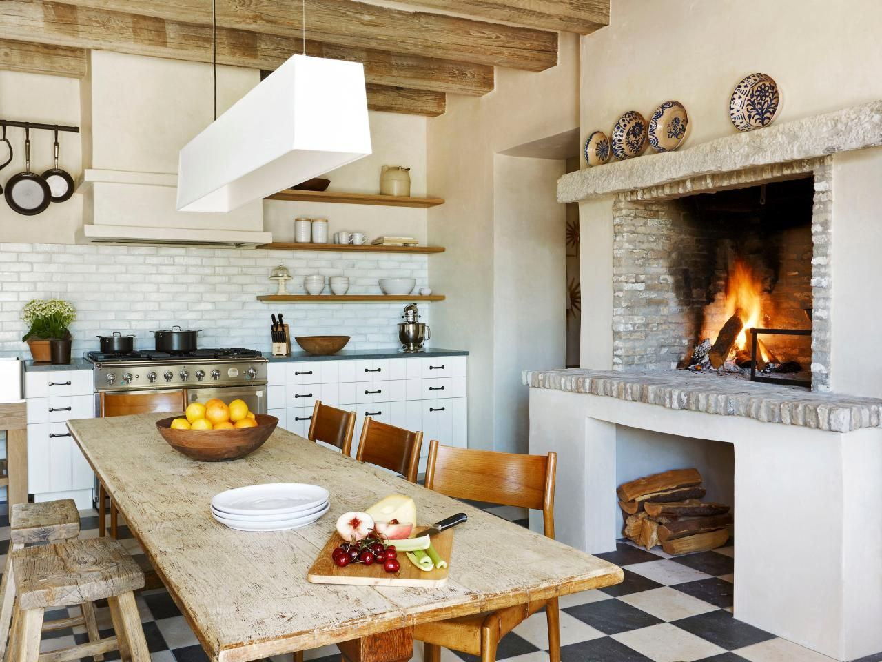 Farmhouse kitchen fireplace