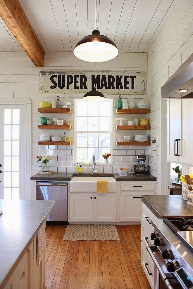 Farmhouse kitchen style with open shelves