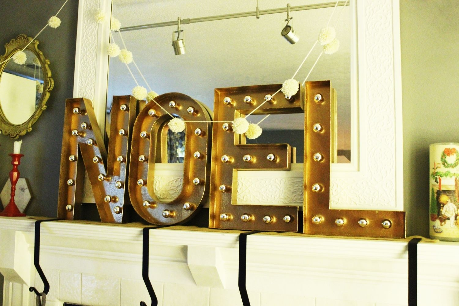 Fireplace mantel with Noel letters
