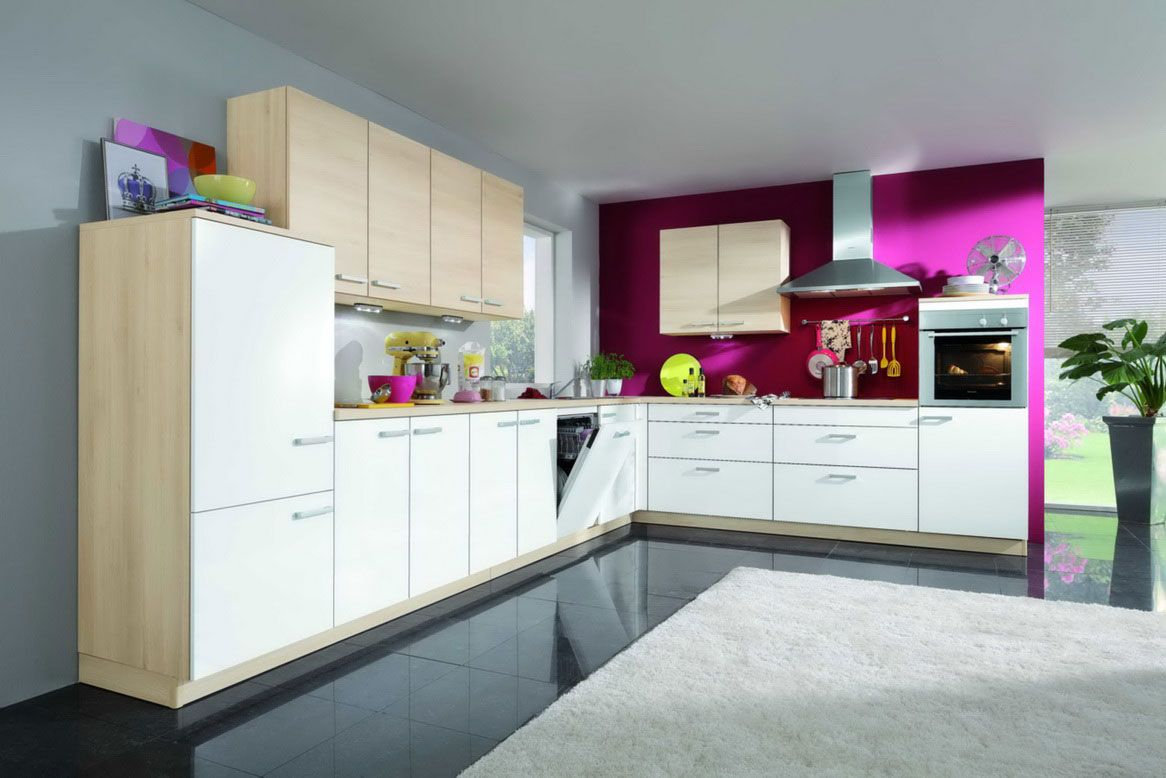 Fuchsia & Light Neutrals Kitchen