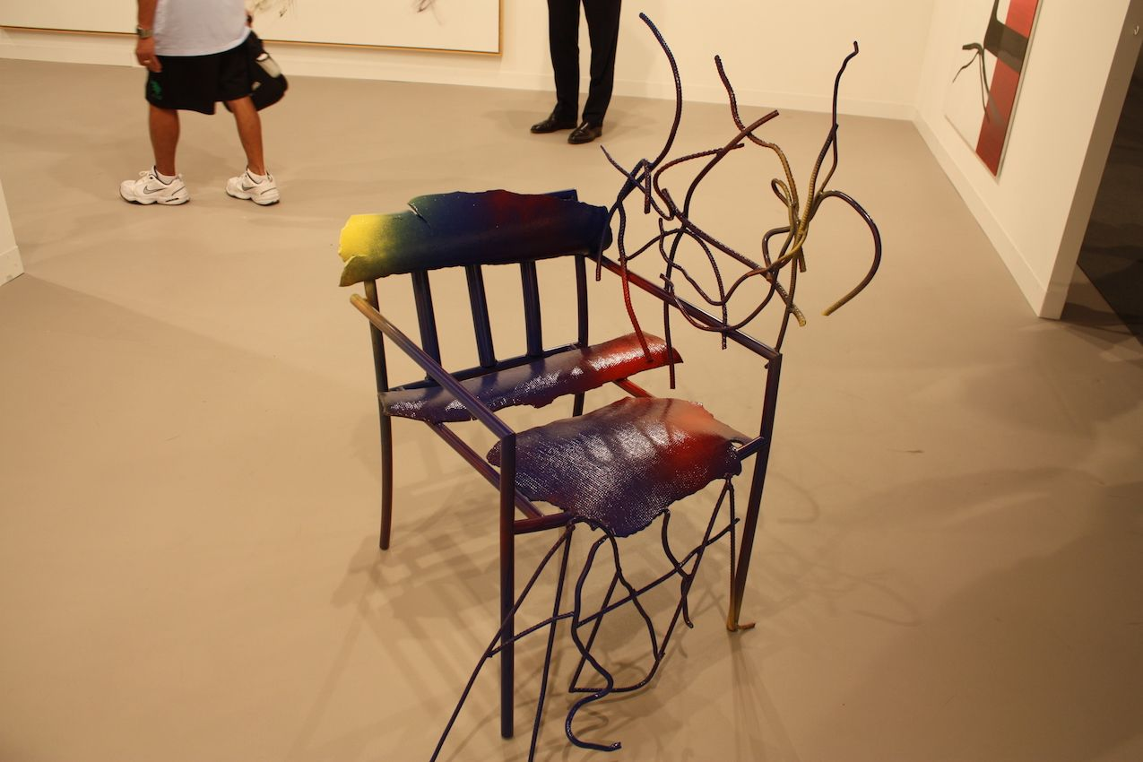 Galerie Maxx Hetzler showed this partially deconstructed and reconstructed metal chair.