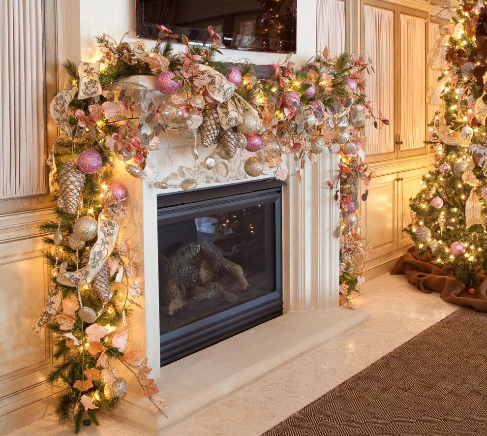 garland around mantel - Pink And Gold Christmas Decorations