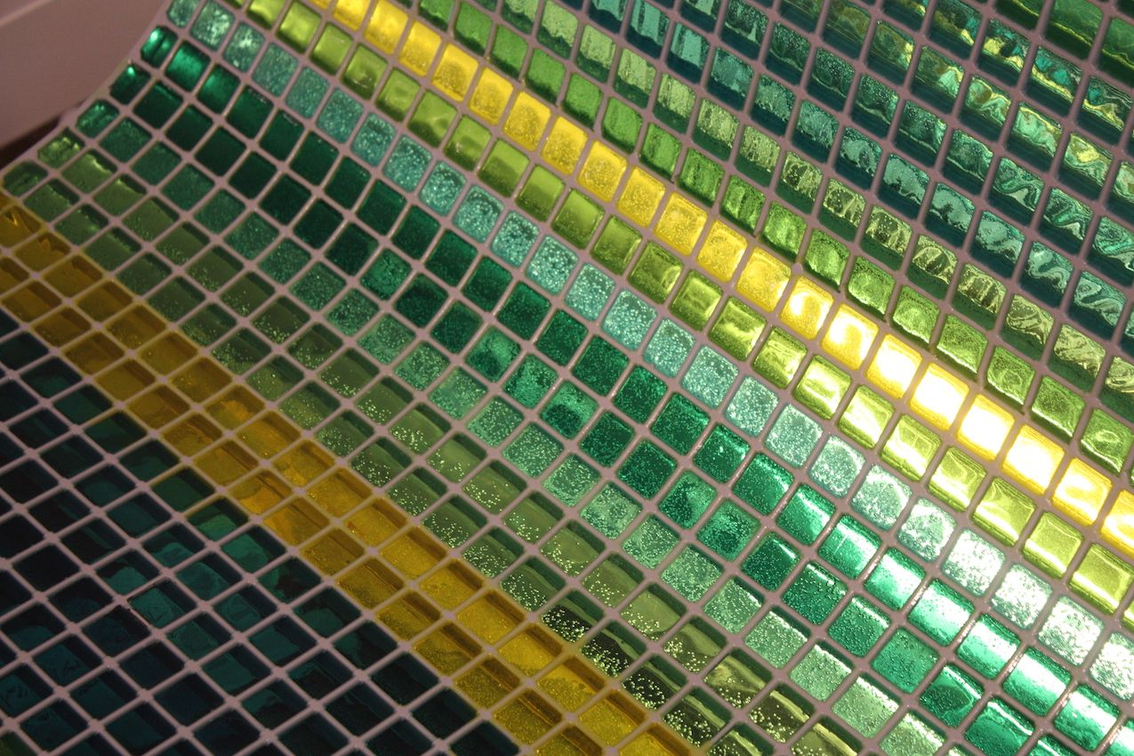 A close up of the glass tile work by Winter/Hoerbelt. The artists Wolfgang Winter and Berthold Herbert have been cooperating under the joint name since 1992. They are known for their outdoor sculptures and installations. This one is lit with LEDs.