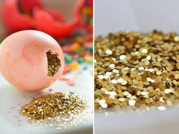 Gold confetti eggs