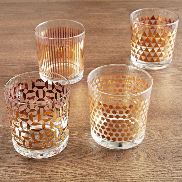 Gold patterned glasses
