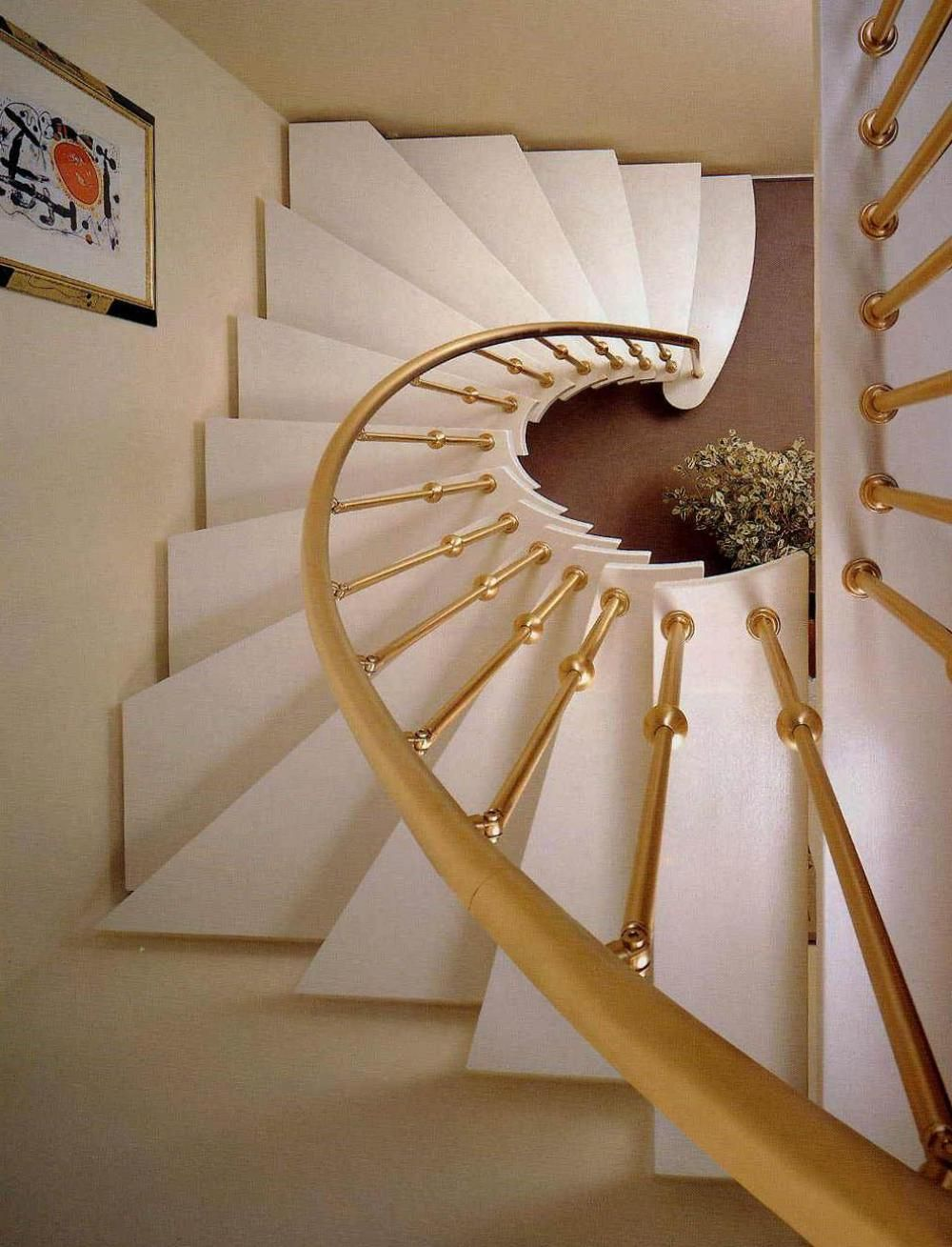 Exceptional Gold Spiral Staircase Railing View In Gallery