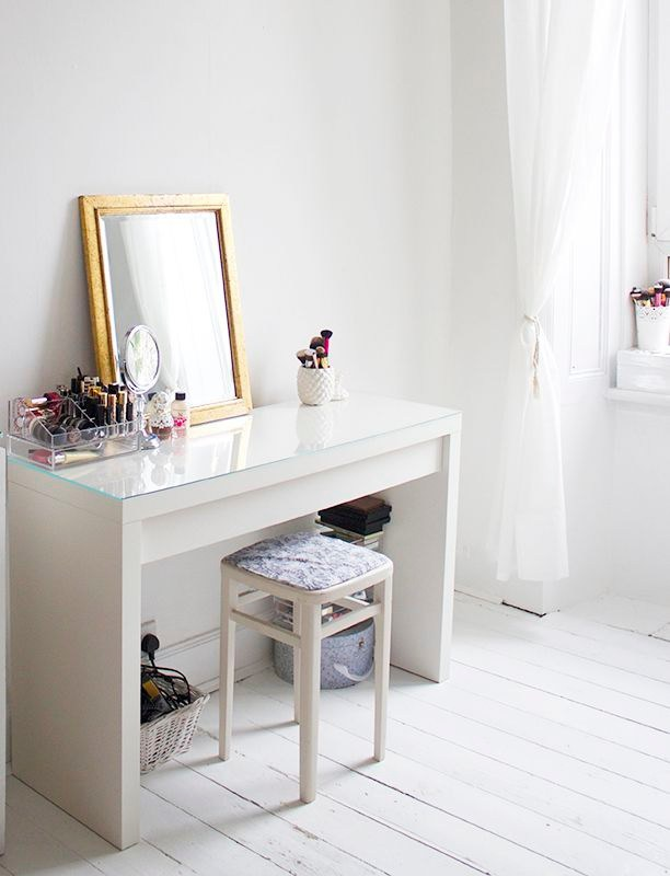 Ikea vanity with glass on top