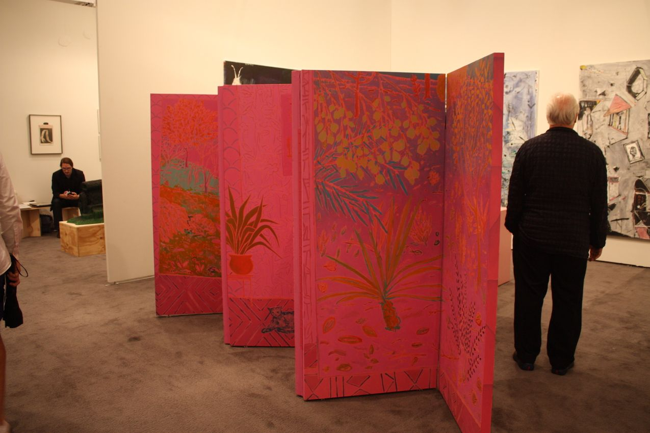 American Artist John McAllister create this painted screen, shown by the James Fuentes Gallery.