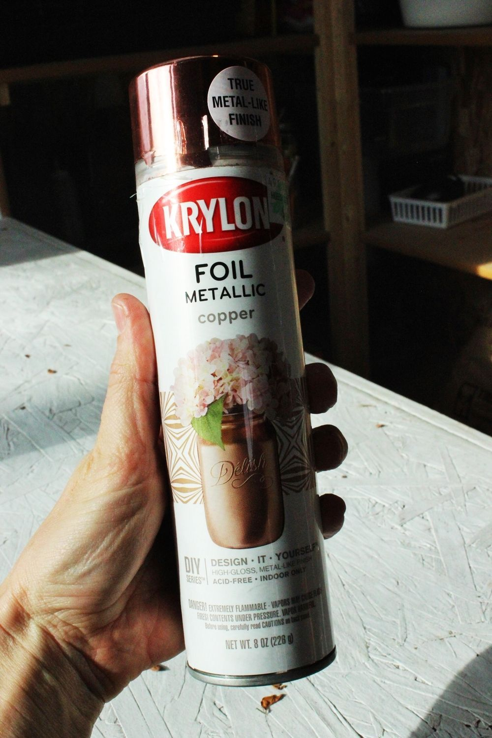 Krylon foil metallic spray paint in copper