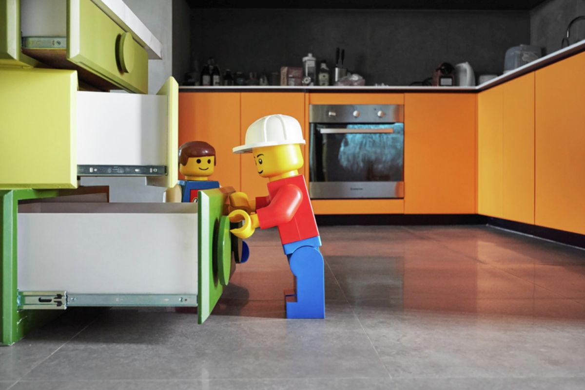 LEGO-inpired apartment in Taiwan kitchen drawers