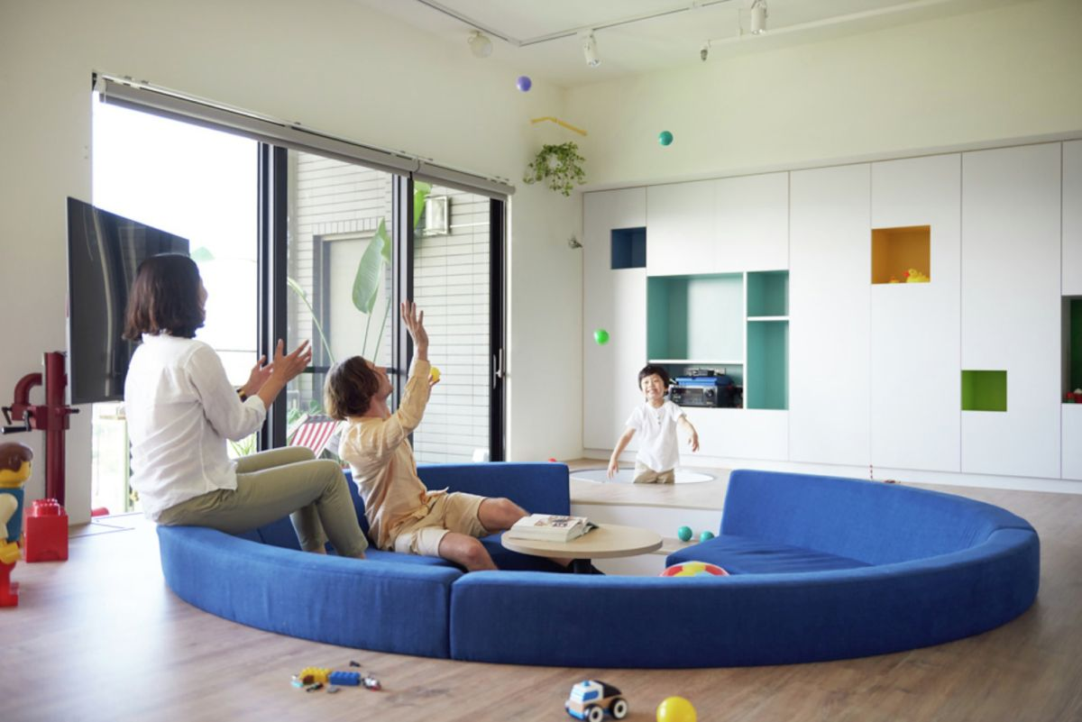 LEGO-inpired apartment in Taiwan sunken seating