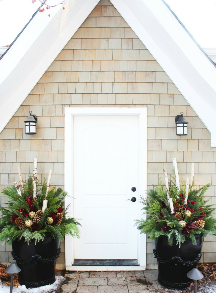 large christmas planters - Decorating Front Porch Urns For Christmas