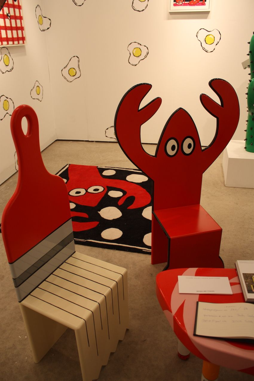 Because it's all art, there was plenty of whimsy to be found. Sitting on a lobster or a paintbrush is just plain fun.