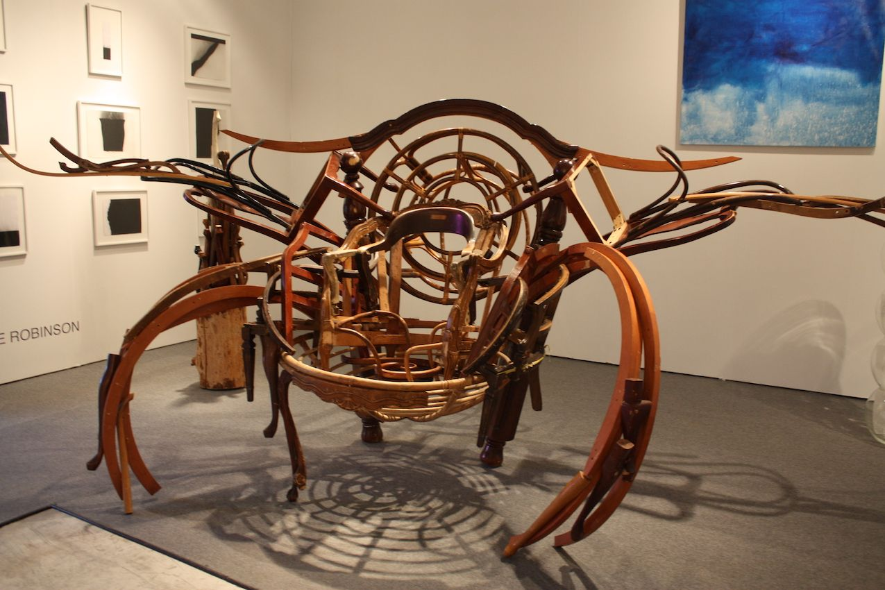 Robinson's giant sculpture of reclaimed furniture is reminiscent of a giant crab.