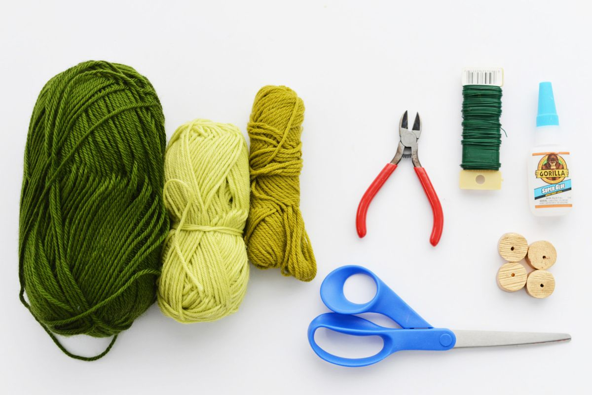 Materials to Create Mini Yarn Trees