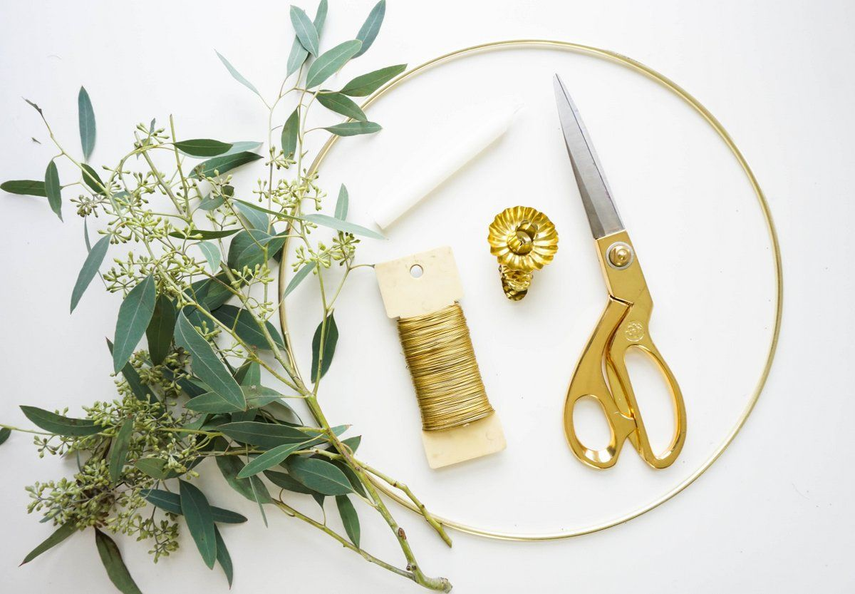 Materials to create a Eucalyptus Candle Wreath