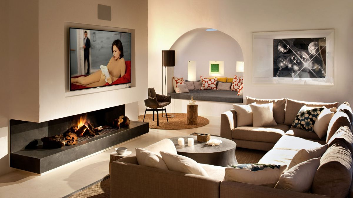 Modern Ibiza home by TG Studio - indoor living room fireplace