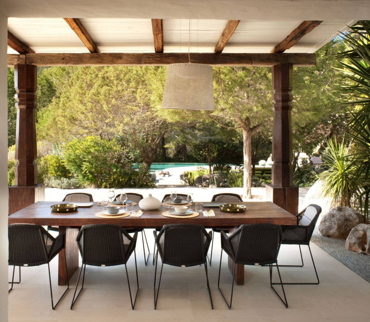 Modern Ibiza home by TG Studio - outdoor dining table