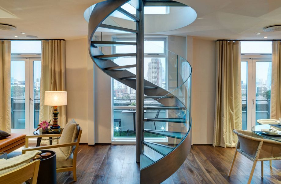 Modern Spiral Staircase with Glass and Steel