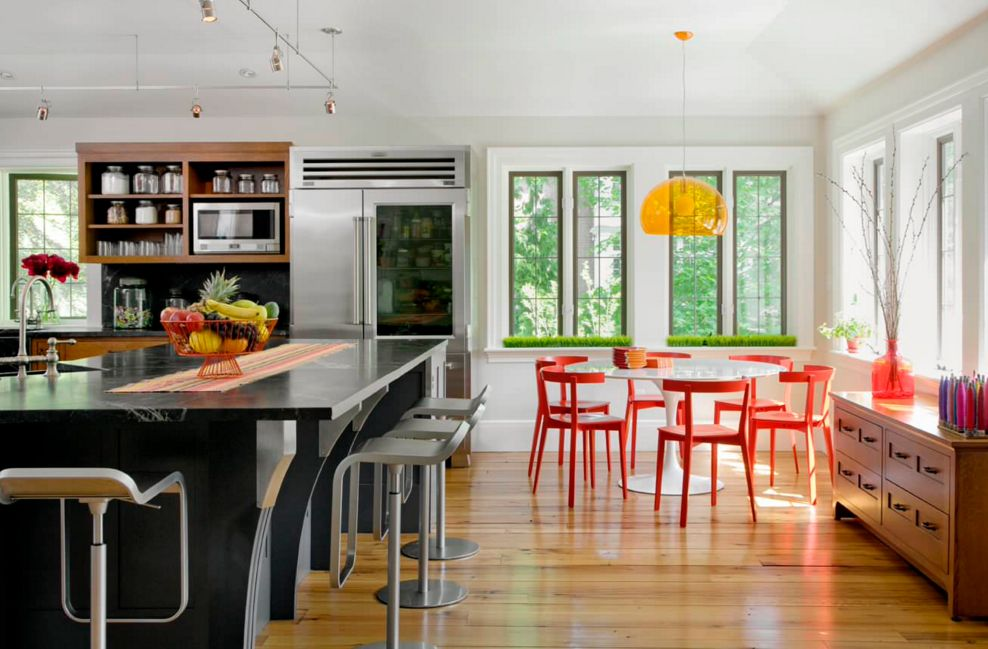 Modern Red And Orange Color Scheme For Kitchen