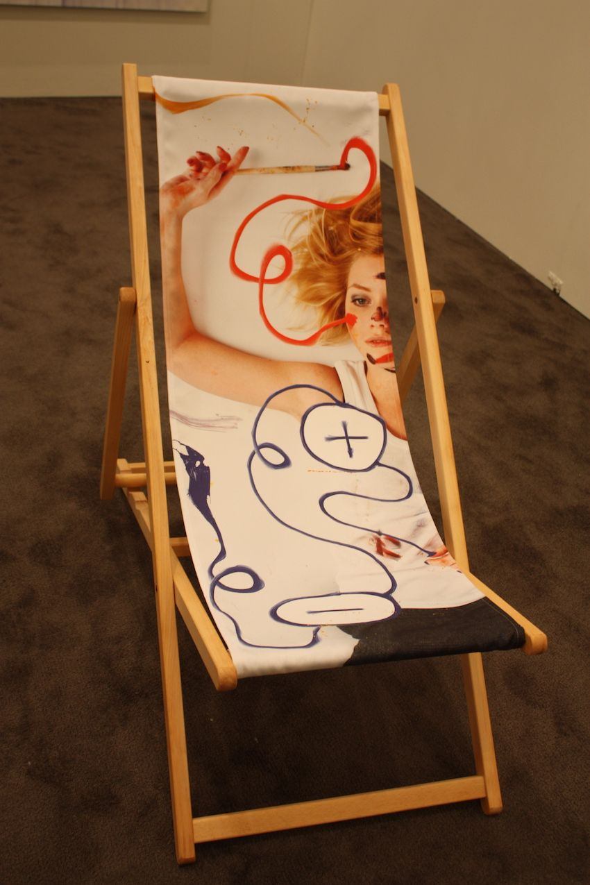 Canvas chairs were literally the canvas for this artist. The pair of painted chairs was shown by the Natalie Hug Gallery at the NADA show at the Fontainebleau Hotel.