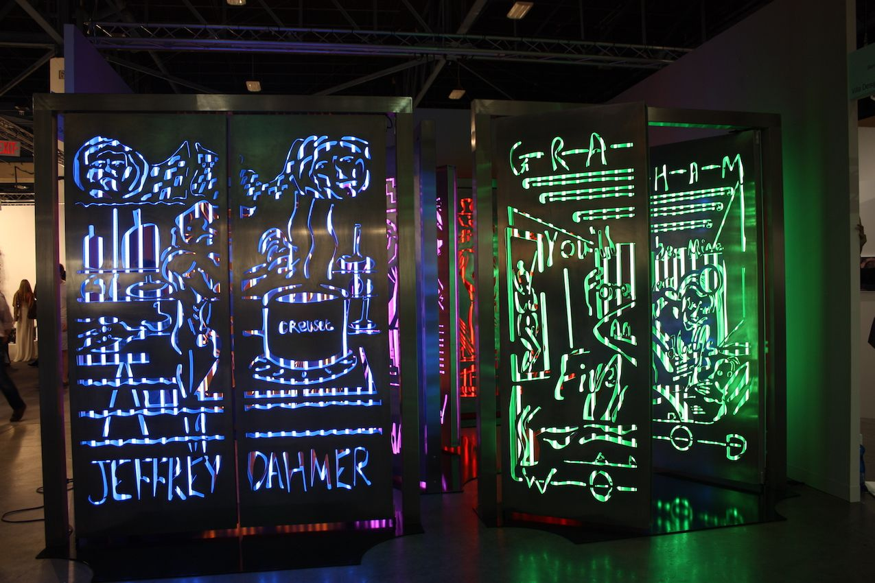 These colorful, yet dark in imagery, light screens would definitely generate conversation.