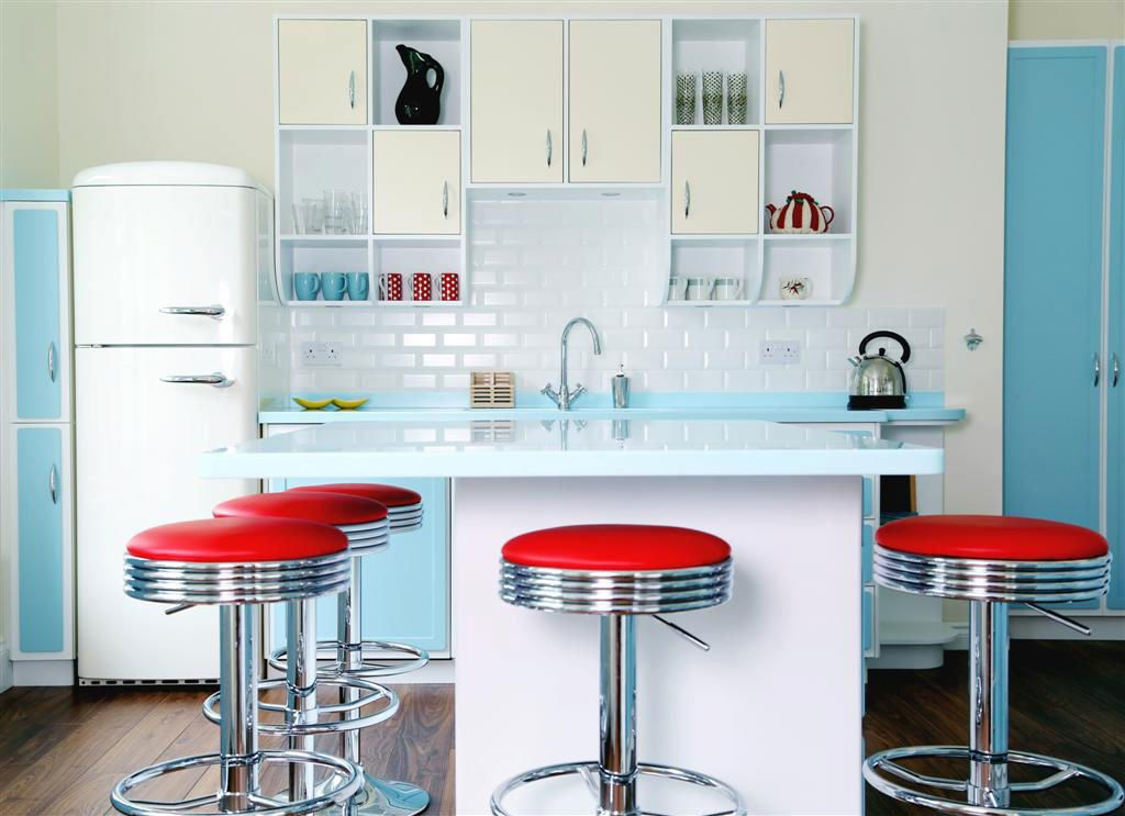 retro kitchen design. Padded kitchen bar stools 20 Elements To Use When Creating A Retro Kitchen